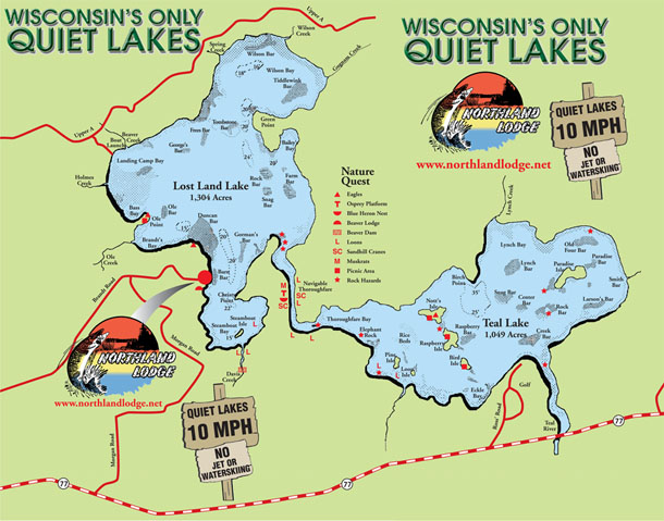 Wisconsin's Quiet Lakes Fishing Map